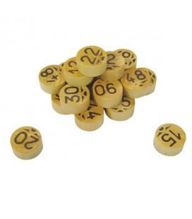 90 gettoni di bosso numerati due volte