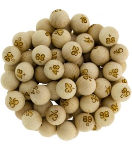 90 palline di legno numerate Ø 22 mm