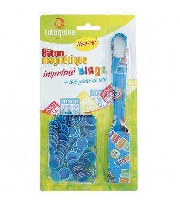 Paletta multicolore magnetica Bingo con 100 coprinumero blu