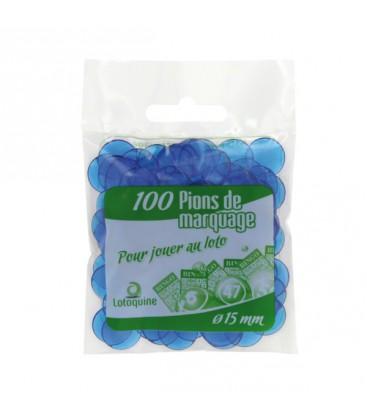 Sacchetto da 100 coprinumeri trasparenti 15 mm di diametro blu